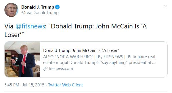 John McCain Loser Tweet From Trump