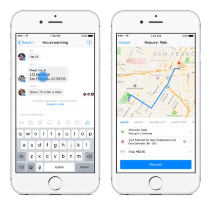 Solicitar Uber en Facebook Messenger