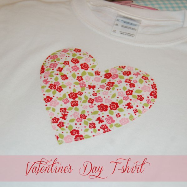 Fabric Applique Valentine's Day T-shirt