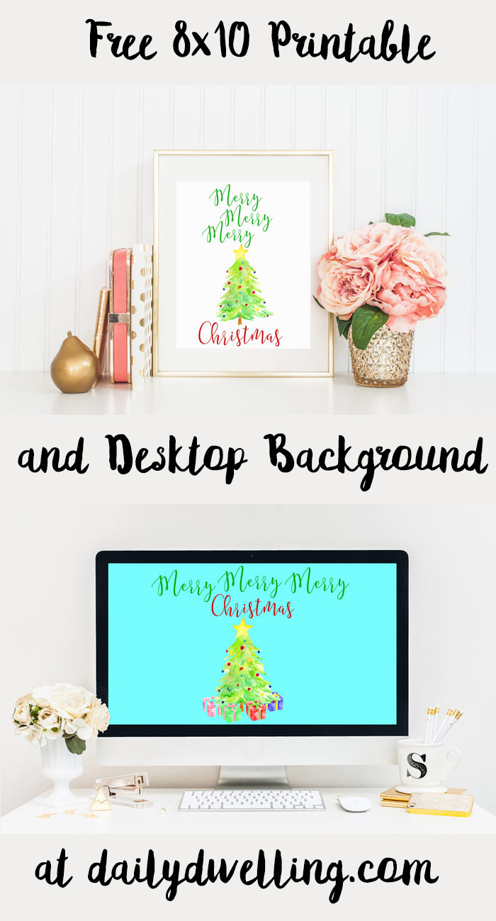 Merry Merry Merry Christmas Printable and Desktop Background
