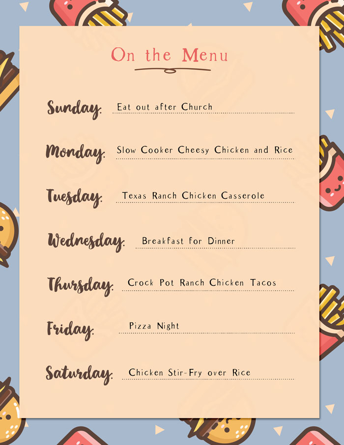 Menu Plan {Week of 6.25.17}