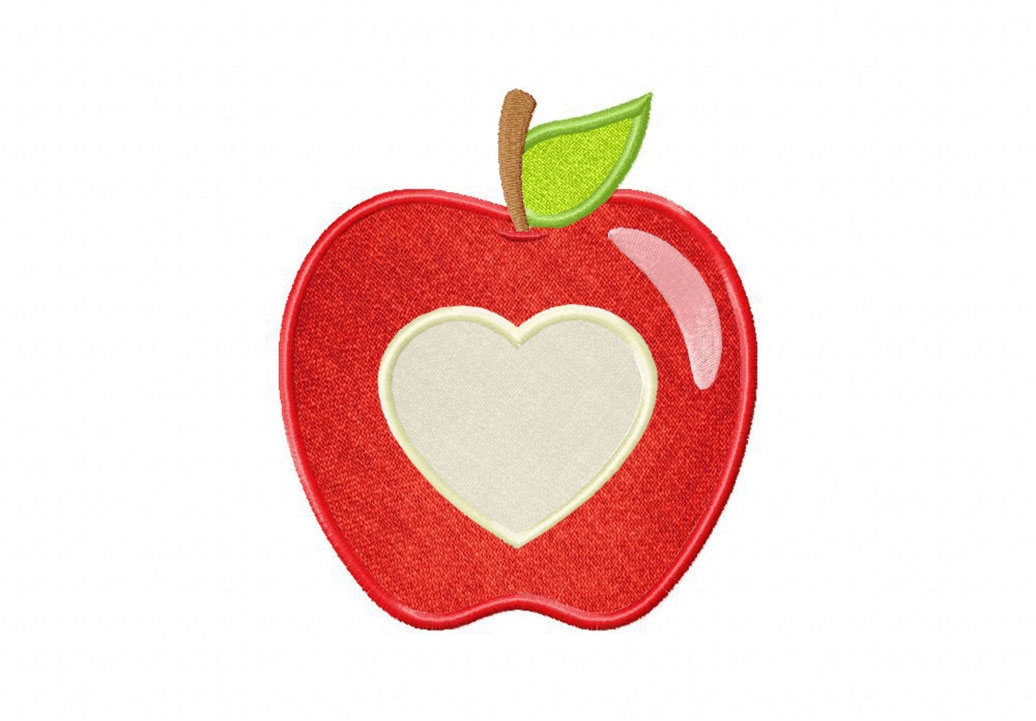 Apple Heart Includes Both Applique And Stitched Daily