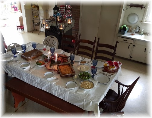 Amish home Christmas dinner table