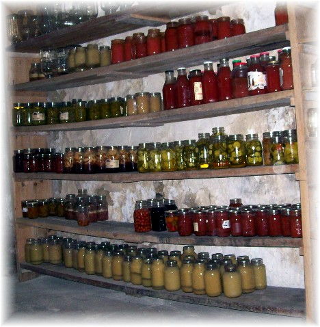 Pantry in cellar of Amish home