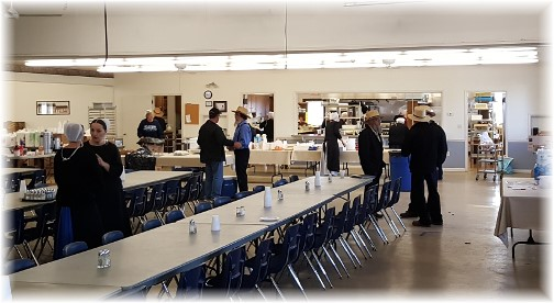 Dinner prep at White Horse Fire Hall following tornado 3/2/16