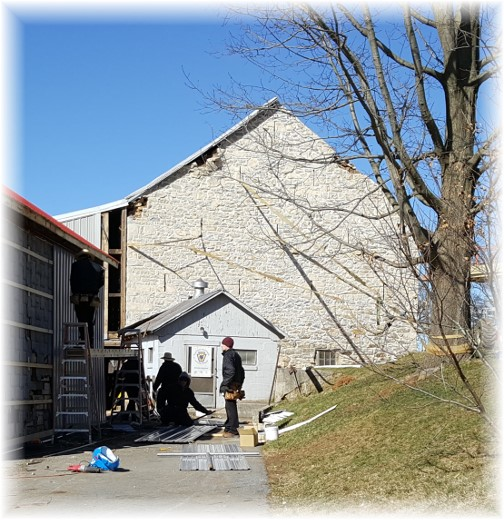 Amish barn near White Horse, PA a week following tornado 3/2/16