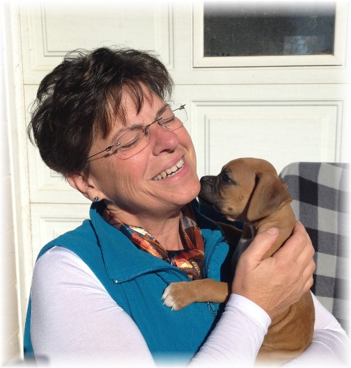 Brooksyne with Boxer puppy at Stoltzfus farm 10/23/15