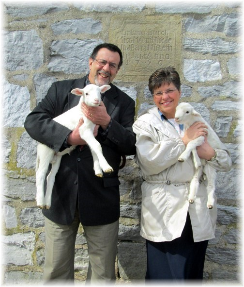 Stephen and Brooksyne Weber with lambs 3/16/14 (click on photo to enlarge)