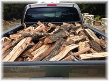 Pickup truck with firewood