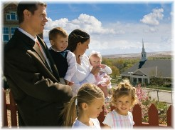 Family going to church