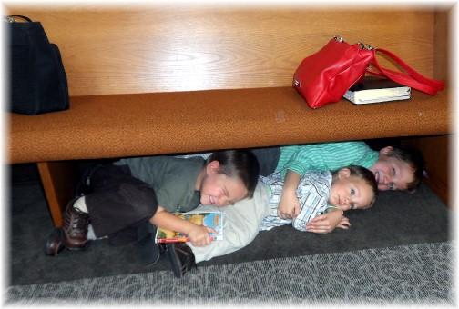 Happy children in church