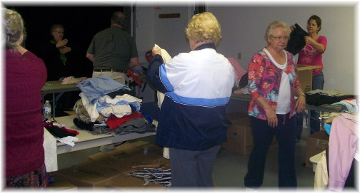 Sorting clothes for Second Street Shop 10/23/12
