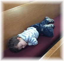 Seth asleep in church 1/26/14