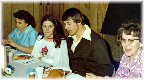 Photo at our wedding rehearsal dinner with our mothers 5/7/76