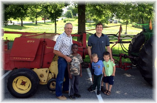 Galen with oldest son, grandsons and 38 year old baler (6/14/14)
