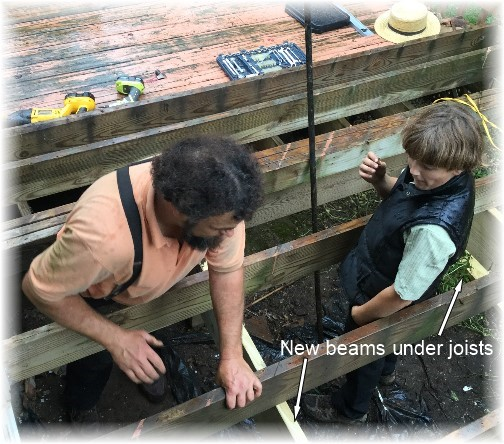 Jesse and Moses helping with deck 10/1/16