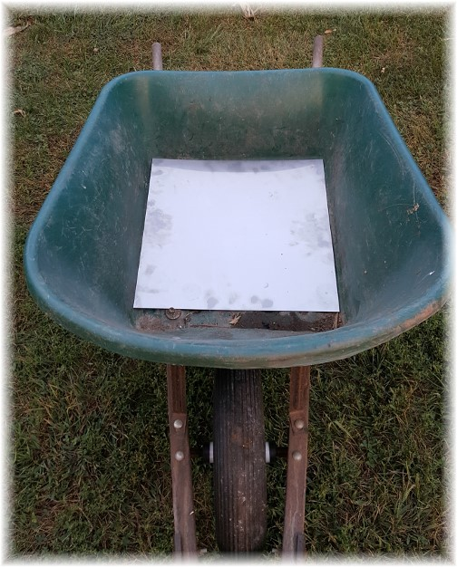 Repaired wheelbarrow with sheet metal 9/21/16