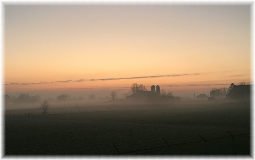 Foggy sunrise in Lancaster County 12/9/15 (Click to enlarge)