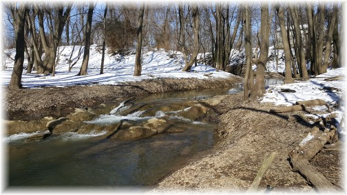Stream flowing into Susquehanna River, Lancaster County, PA 2/14/16 (Click to enlarge)