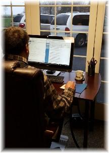 Stephen doing Daily Encouragement admin work