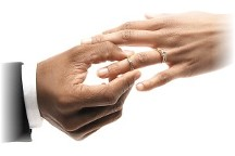 Man placing ring on bride