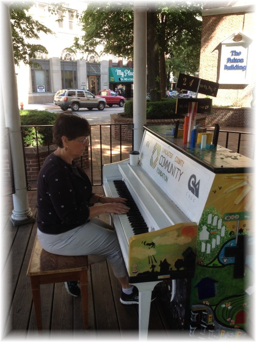Brooksyne playing street piano at Penn Square in Lancaster city 6/6/14