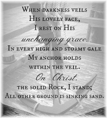 "Line from hymn ""The Solid Rock"""