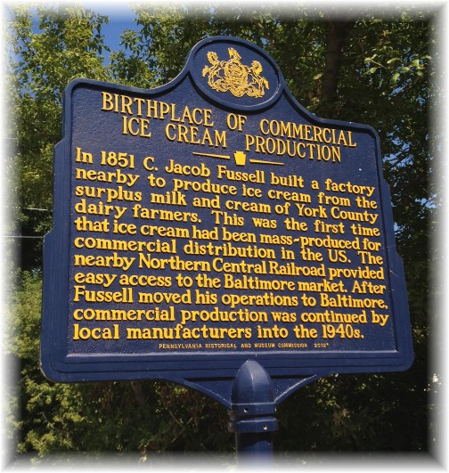Birthplace of commercial ice cream York Heritage Rail Trail 9/8/15