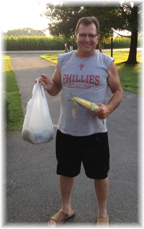 Jerry Hess with corn 7/22/14