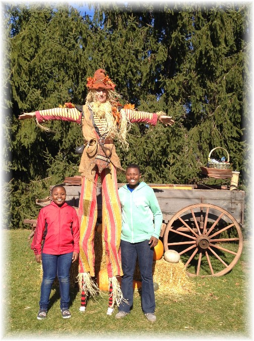 Nathan and Neville with scarecrow 11/15/15
