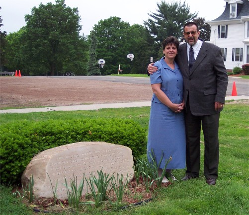 """Webers standing next to stone marking location where Jonathan Edwards preached """"Sinners in the hands of an angry God"""" (about 2006)"""