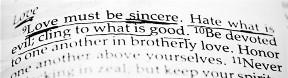 Romans 12:9 underlined in Bible