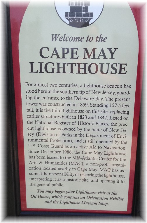 Cape May lighthouse sign 7/15/14