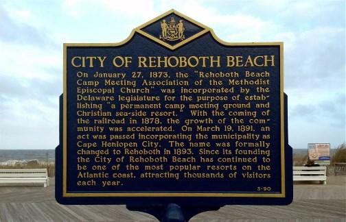 Rehoboth Beach DE historical sign
