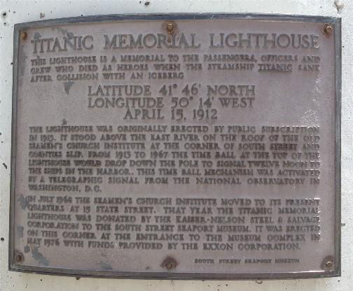 Titanic Memorial plaque 5/26/14