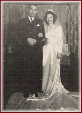 Mom and Dad weeding photo, October 17, 1944