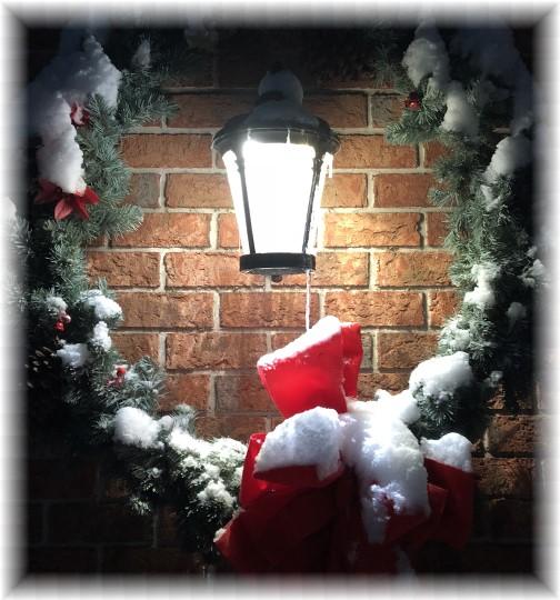 First seasonal snow on wreath 12/19/17
