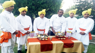 Chefs of Hotel Jammu Ashok bracing up to serve Dogri Food in its Gulistan Restaurant.