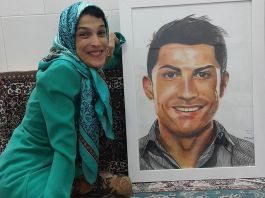 Unbelievable: Handicapped Woman shows off clever painting of Cristiano Ronaldo