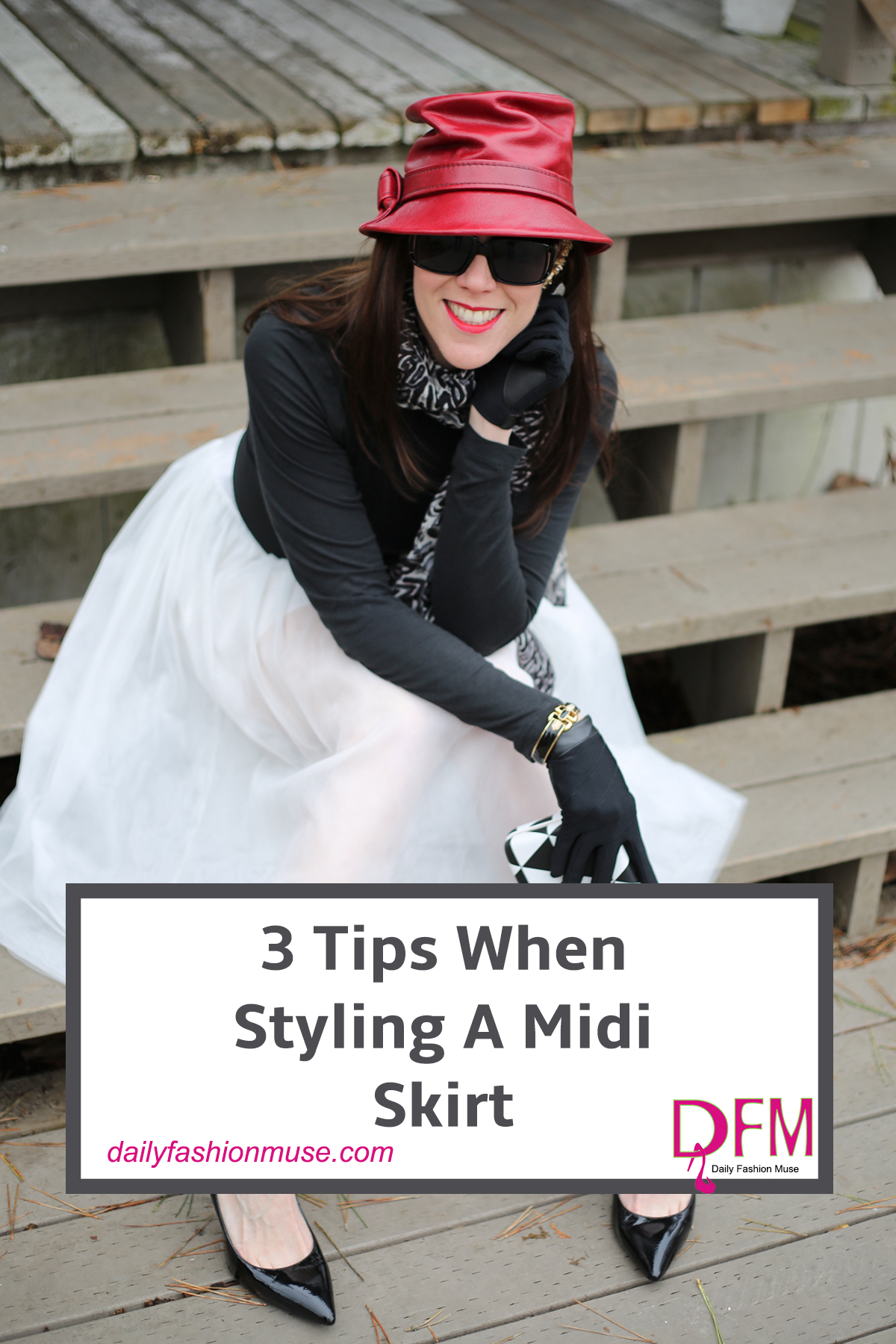 Styling a midi skirt can be tricky. It can very quickly start moving into a matronly look. Here are 3 tips to help you style a midi skirt. Click to read.