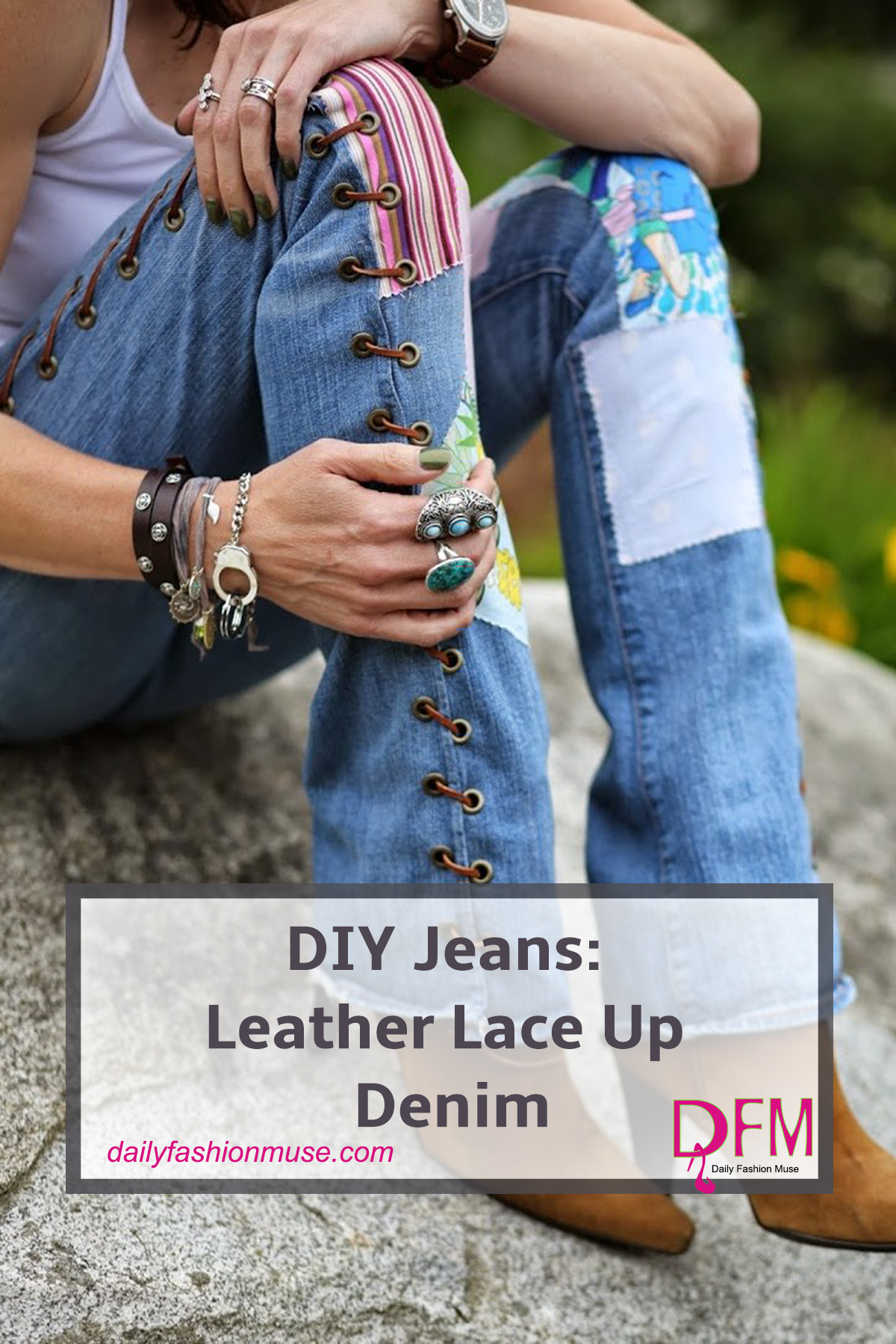 DIY Jeans: Leather Lace Up Denim - Daily Fashion Muse