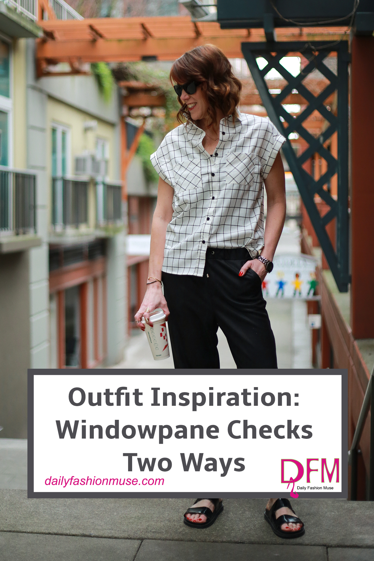 Windowpane checked fabrics are a new way to wear plaid. Click through to see two ways that I style it. Casual and dressy. It all works.