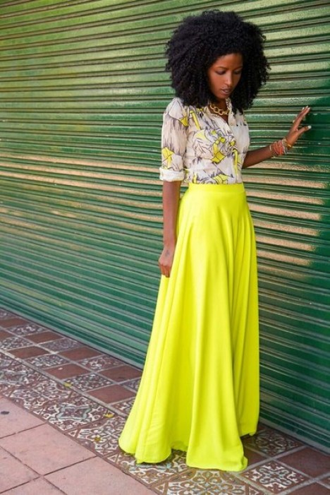 gz3dst-l-610x610-skirt-outfit-fashion-girly-neon-yellow-button+blouse-blouse-print-summer-spring-long+sleeve+shirt-roll+sleeves