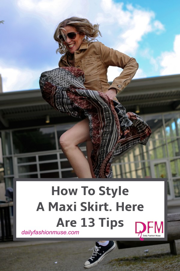 How to style a maxi skirt can sometimes be a little daunting. Click to read my 13 suggestions for styling your maxi skirt. There is a look for every personality.