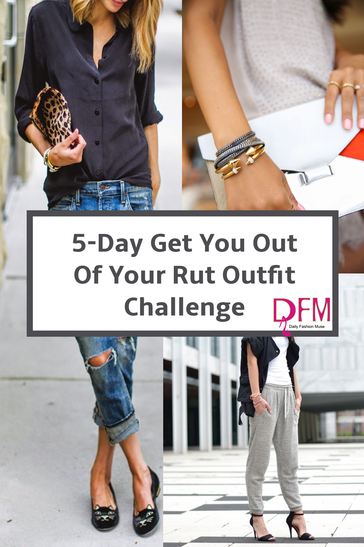 Here are 5 simple outfit challenges to help you restyle your look and get you out of the same old routine. Click through to take the challenge.