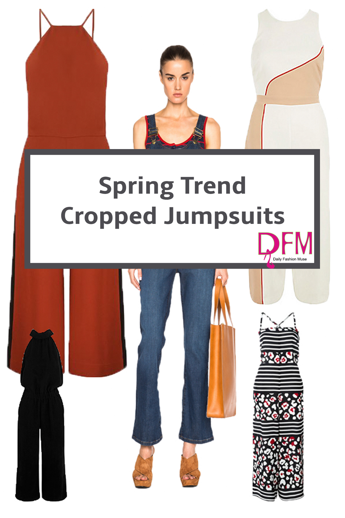 The latest spring trend is a cropped jumpsuit.