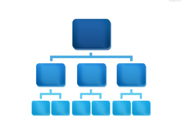 Blue rganization chart icon
