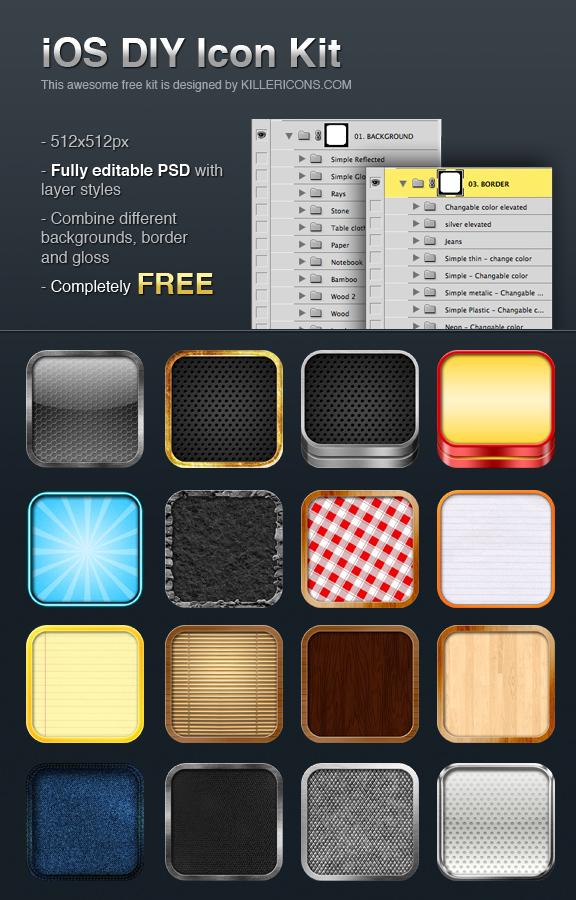 Editable IOS Icon Kit (free psd)