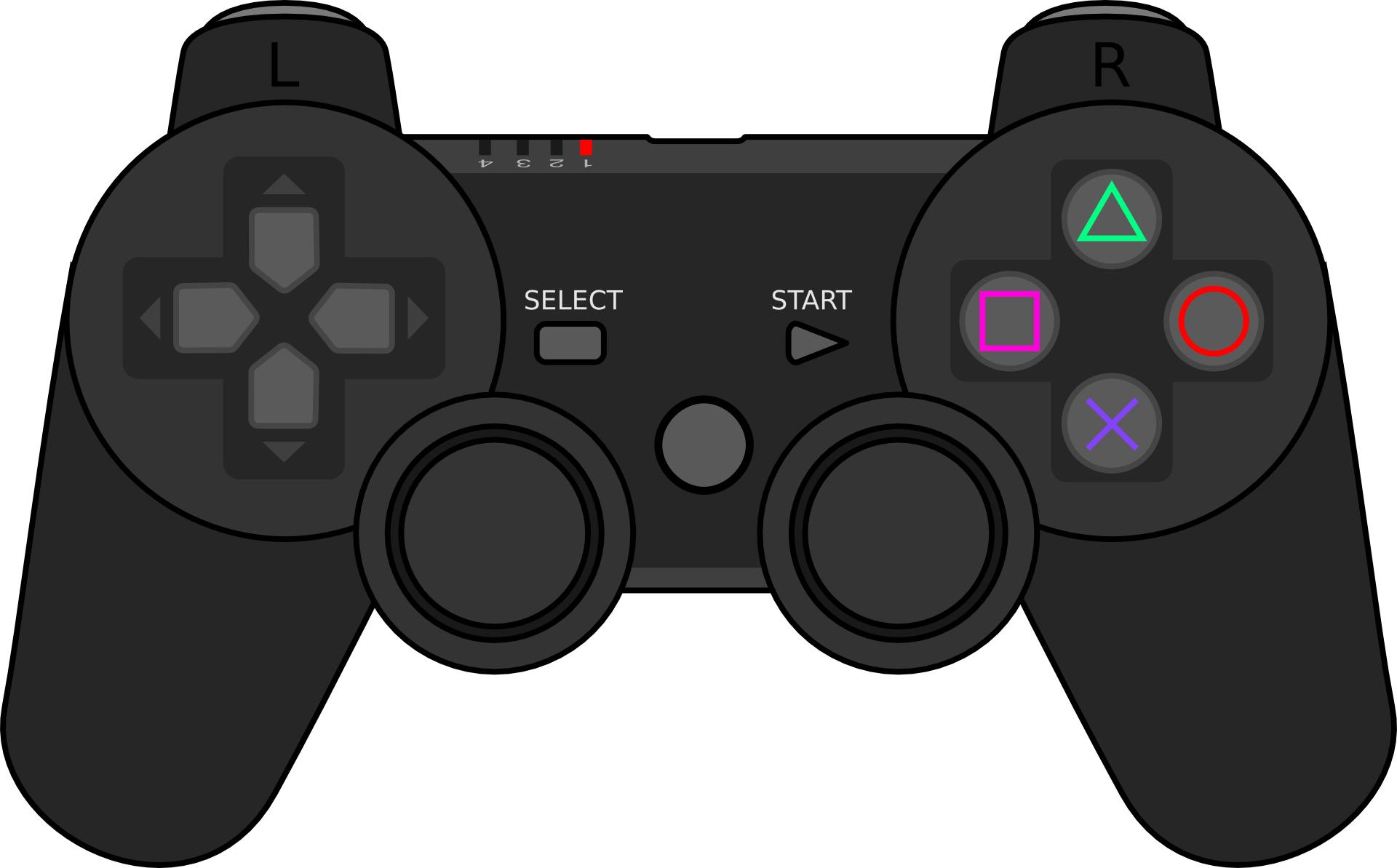 Black gamepad icon,joystick outline, controller vector