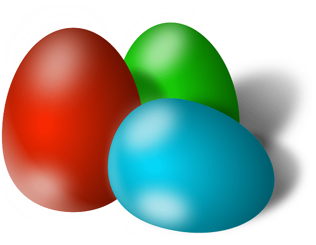 Blue Red Green Easter Eggs Free Vector
